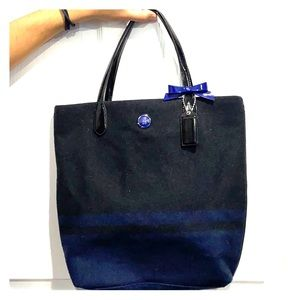 Coach tote F24665 in wool Charcoal/ cobalt